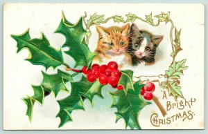 Christmas Cats~Black Kitten & Tabby Kitty in Holly Berry Frame~Gold Leaf Emboss