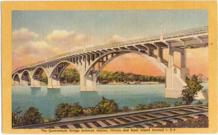 Linen of The Government Bridge Moline Illinois IL 1947