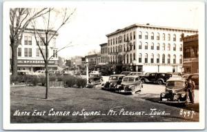Mt. Pleasant, Iowa RPPC Real Photo Postcard North East Corner of Square c1940s