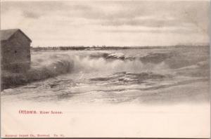River Scene Ottawa Ontario ON Unused Montreal Import Co Postcard D41