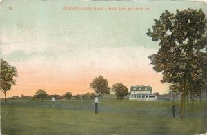 Des Moines Iowa~Man Stands on Golf Green @ Country Club Links~1909 Postcard pc