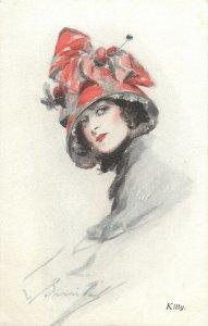 Art signed fancy hat  glamorous lady Kitty Postcard Art deco/nouveau