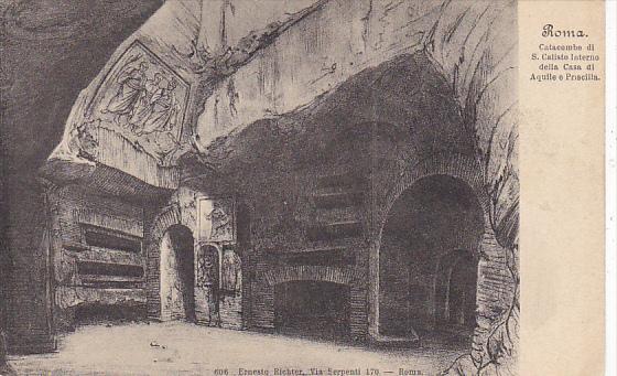 Italy Roma Rome Catacombe di San Calisto Interno della Casa di Aquile e Prisc...