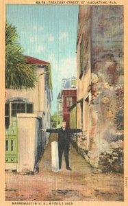 Vintage Postcard 1930's Narrowest In U.S Treasury Street St. Augustine Florida