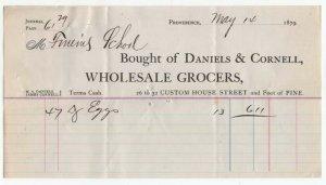 1879 Billhead, DANIELS & CORNELL, Wholesale Grocers,  Providence, Rhode Island