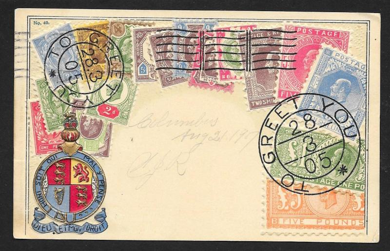 GREAT BRITAIN Stamps on Postcard Embossed Shield Used c1907