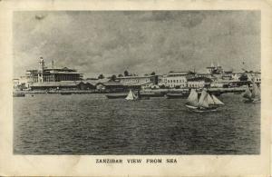tanzania, ZANZIBAR, View from the Sea (1940s) Postcard
