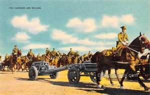 Military Comic Postcard, Old Vintage Antique Post Card Caissons are Rolling U...