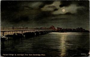 Cambridge Massachusetts~Harvard Bridge by Moonlight~Night Lights Skyline~c1910