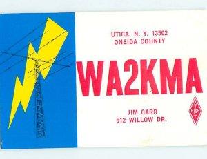 Pre-1980 RADIO CARD - CB HAM OR QSL Utica New York NY AH2316