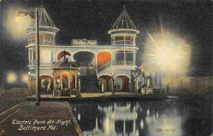 Electric Park Amusement at Night Baltimore Maryland 1910c postcard