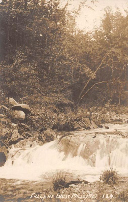WEST MILLS ME FALLS REAL PHOTO POSTCARD c1910s
