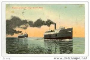 Two Steamships Entering Muskegon Harbor, Michigan, 1915