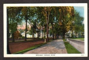 ME View of Broadway in BANGOR MAINE PC Postcard