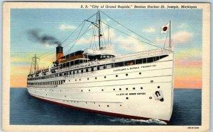 Michigan Linen Postcard S.S. City of Grand Rapids, Benton Harbor- St. Joseph