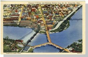 Zanesville, Ohio/OH Postcard,Y Bridge/Business Center Aerial