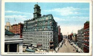 Rochester, New York Postcard Powers Block & State Street Downtown Scene 1918