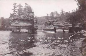 Wisconsin Dells Sugar Bowl &  Grotto Rock Real Photo RPPC