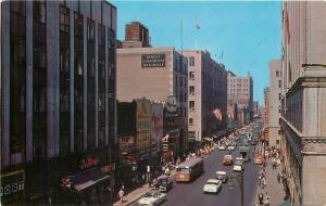 Montreal Canada~St Catherine Street Shopping~Stores~1950s Cars~Bus~Postcard