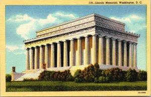 Abraham Lincoln Memorial Washington, D.C. linen postcard yellow border
