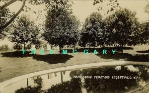1910 Edgerton OH RPPC: Maple Grove Cemetery, Graves & Pond