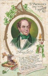ST. PATRICK'S Day In The Morning, Thomas Moore Irish Poet, PU-1911
