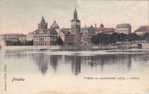PRAHA , Czech Republic , PU-1906 : Pohled na staromestske mlyny z nabrezi