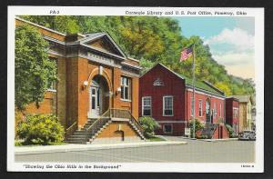 Street View Carnegie Library & US Post Office Pomeroy Ohio Unused c1941