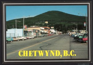 British Columbia ~ CHETWYND a view of Main Street with cars - Cont'l 1980s-1990s