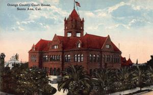 Orange County Court House, Santa Ana, California, Early Postcard, Unused