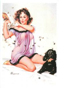 Repro postcard pinup pin up beauty & dog pillow fight