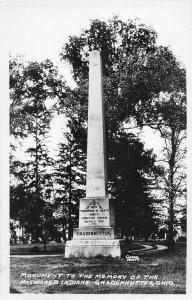 G45/ Gnadenhutten Ohio RPPC Postcard c1940s Monument Massacred Indians