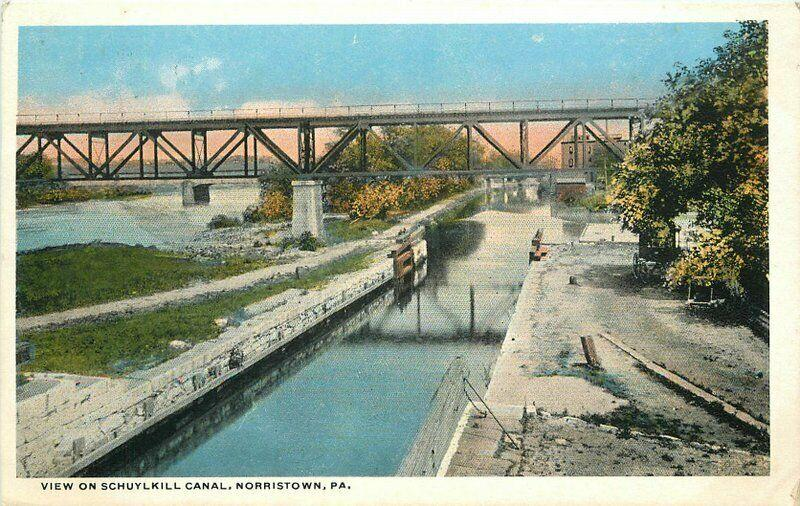 1920s Norristown Pennsylvania Postcard View Schuylkill Canal Teich 2750