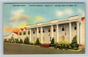 Irwin PA, Jacktown Hotel, Lincoln Highway, Linen Pennsylvania Postcard