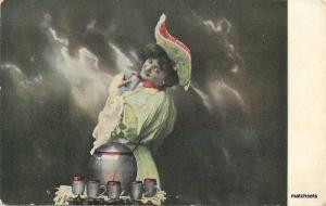 C-1910 Big Hat Woman Glass Lemonade Set postcard 2283