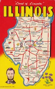 Greetings From Illinois With Map 1962