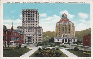 North Carolina Asheville View From Plaza Showing Buncombe County Court House ...