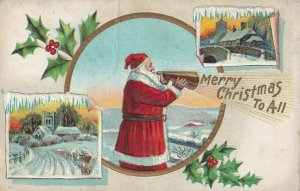 Santa Claus Shouting MERRY CHRISTMAS TO ALL, PU-1913