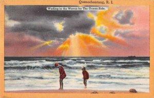 Quonochontaug Rhode Island beach bathers waves linen antique pc ZA441443