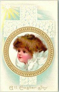 1910s EASTER Embossed Postcard Angel Baby Girl / White Floral Cross - UNUSED