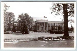 1950's RPPC HOSPITAL*ALLEGAN MICHIGAN*WHITE COLUMNS*OLD CARS*DEVOLITE PEERLESS