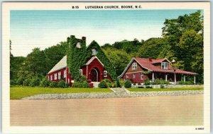 BOONE North Carolina Postcard Lutheran Church Building View Linen 1940s Unused