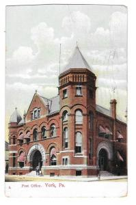 York PA US Post Office Vintage Wheelock Postcard 1916