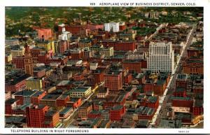 Colorado Denver Aeroplane View Of Business District Curteich