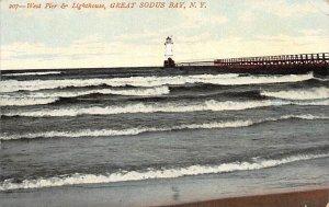 West peer and lighthouse Great Sodus Bay, New York, USA Lighthouse Unused