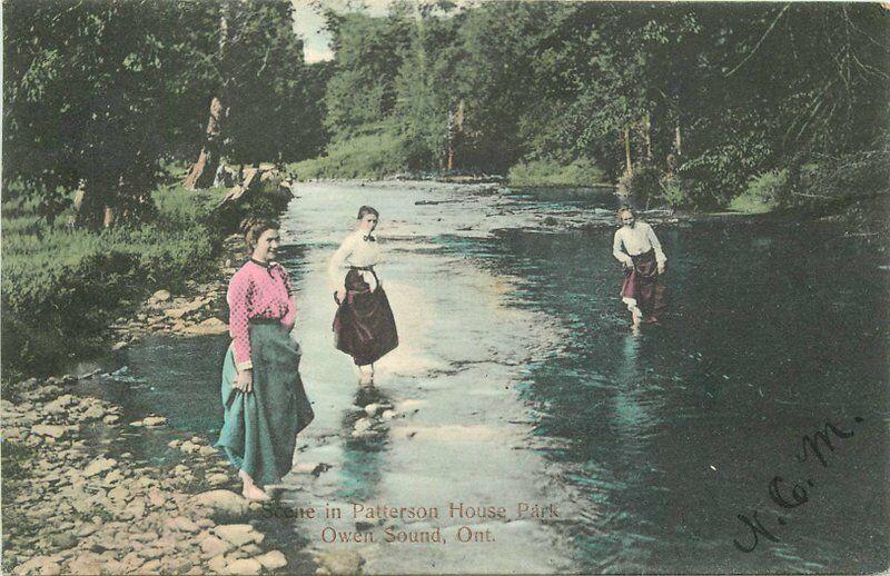 1907 Ontario Canada Patterson House Park Owen Sound hand colored Postcard 887