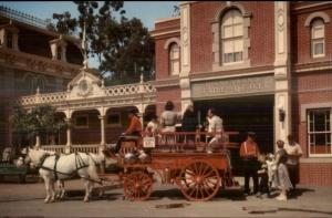 Disney Disneyland Anaheim - Fire Engine Old Postcard #1