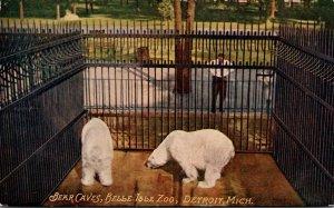 Michigan Detroit Belle Isle Zoo Bear Caves Polar Bears 1910