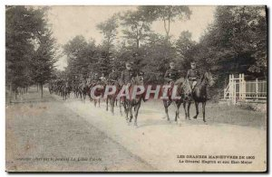 Old Postcard Army Major maneuvers 1905 Hagron General and General Staff