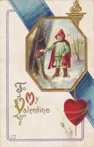 VALENTINE´S DAY, 1900-1910´s; Girl Leaving A Card In A Tree Trunk